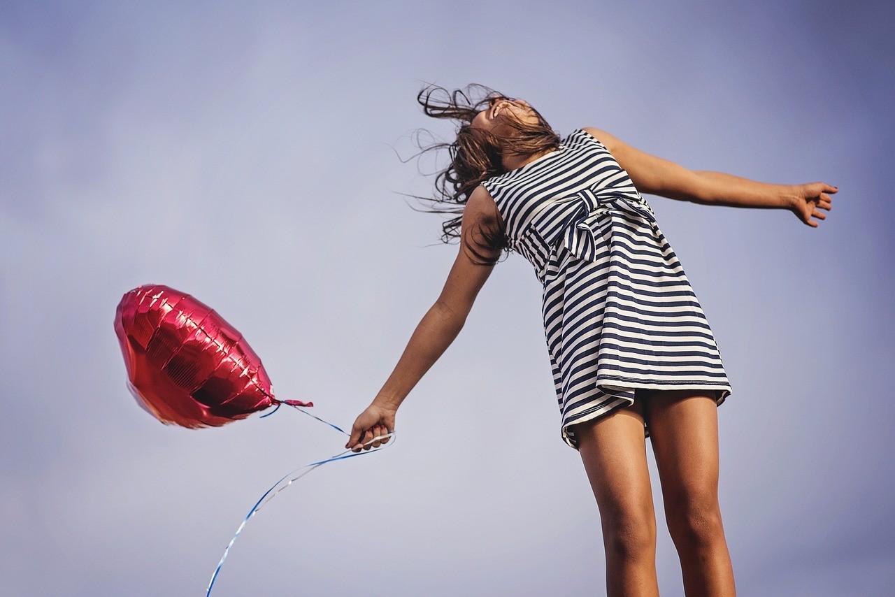 счастье, свобода, воздушный шар, девочка