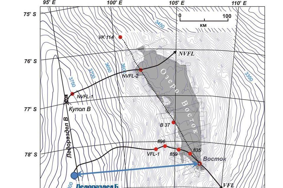гляциолог, карта озера восточный
