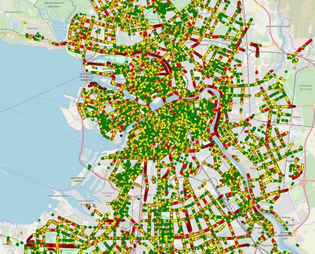 карта доступности пешеходных переходов красивый петербург