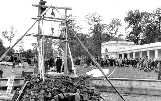 Установка статуи Самсон 31 августа 1947 года