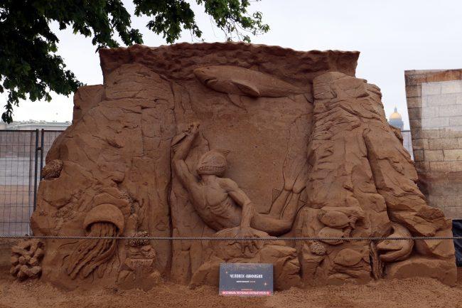 фестиваль песчаных скульптур Человек-амфибия