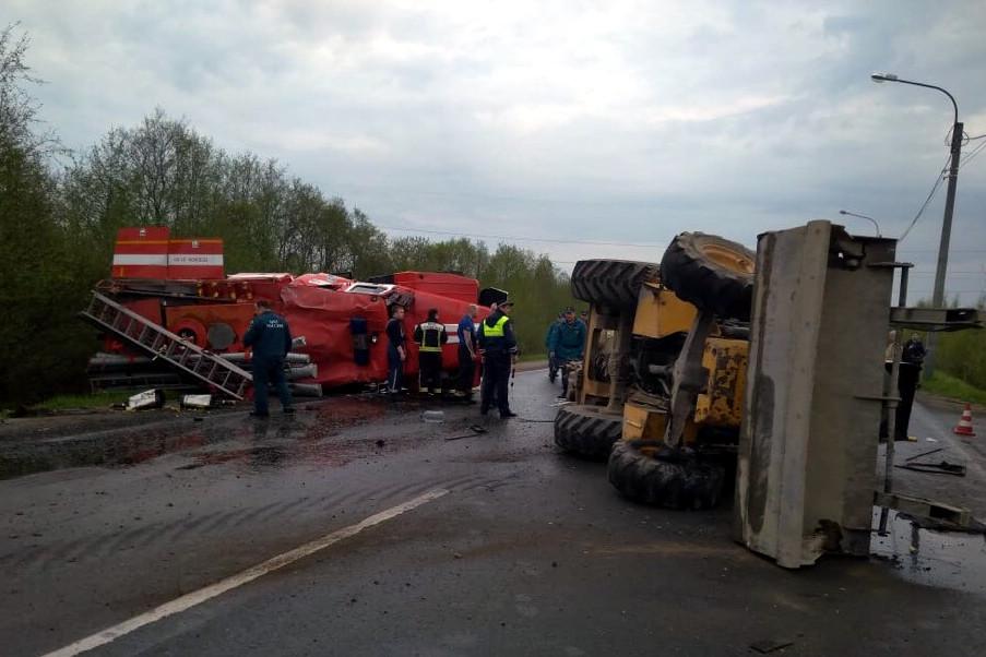 ДТП авария столкновение Вознесенское шоссе пожарная машина трактор