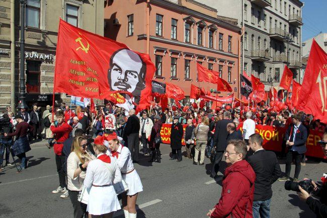 первое мая первомайская демонстрация коммунисты портрет Ленина