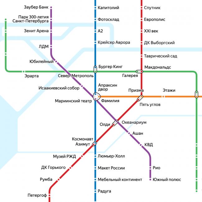 шуточная схема метро Яндекс