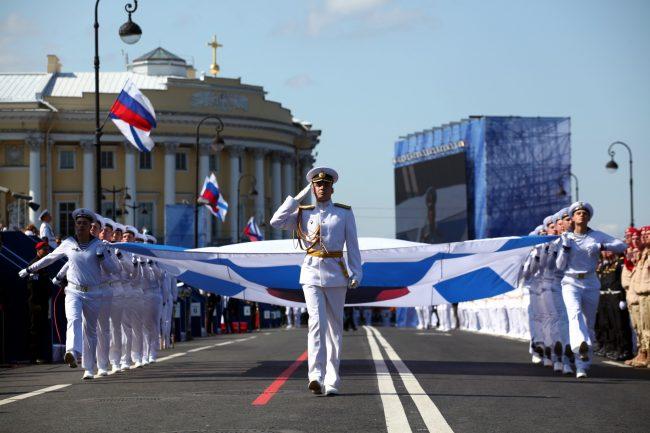 день ВМФ репетиция моряки офицеры военные Андреевский флаг