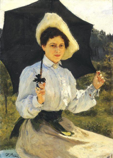 """""""На солнце"""", портрет Н.И.Репиной, дочери художника Ильи Репина."""