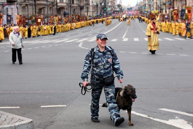 крестный ход день перенесения мощей александра невского религия православие полиция собака кинолог