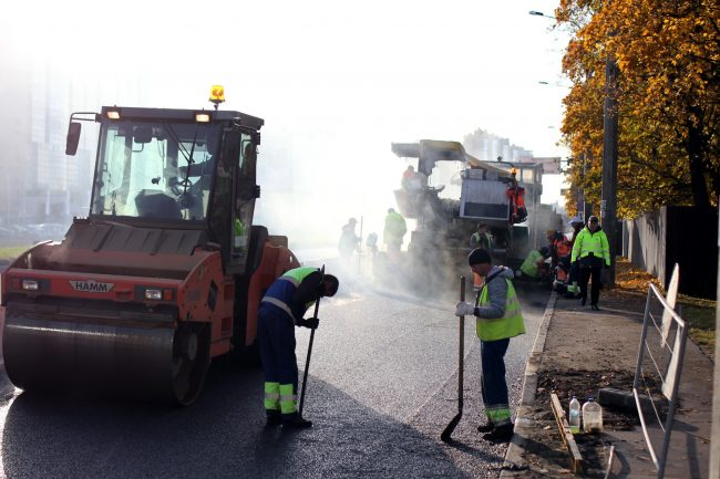 дорожные работы ремонт дороги Выборгское шоссе
