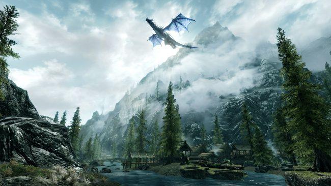 компьютерная игра, дракон, горы, лес