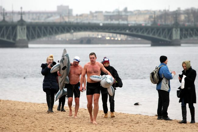 день Дельфина Невские моржи зимнее плавание Нева