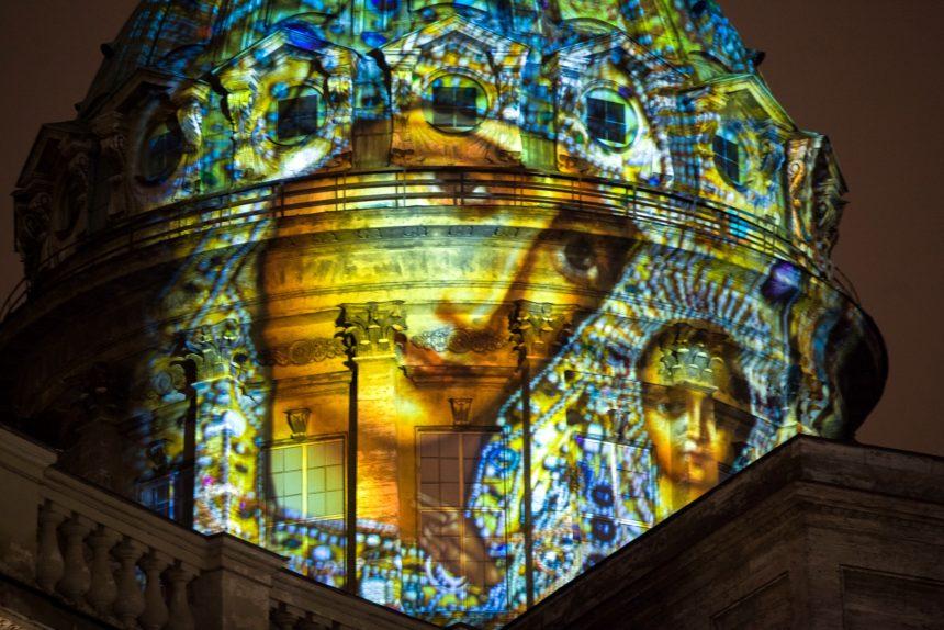 новый год новогодние праздники рождество Казанский собор проекция свет