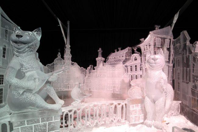 ледяные скульптуры петербургские коты