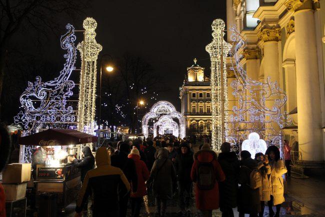 новый год новогодняя ночь украшения иллюминация Эрмитаж