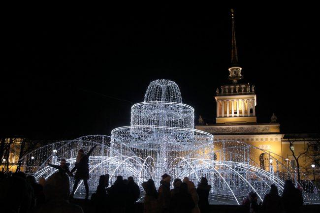 новый год новогодняя ночь украшения иллюминация фонтан адмиралтейство