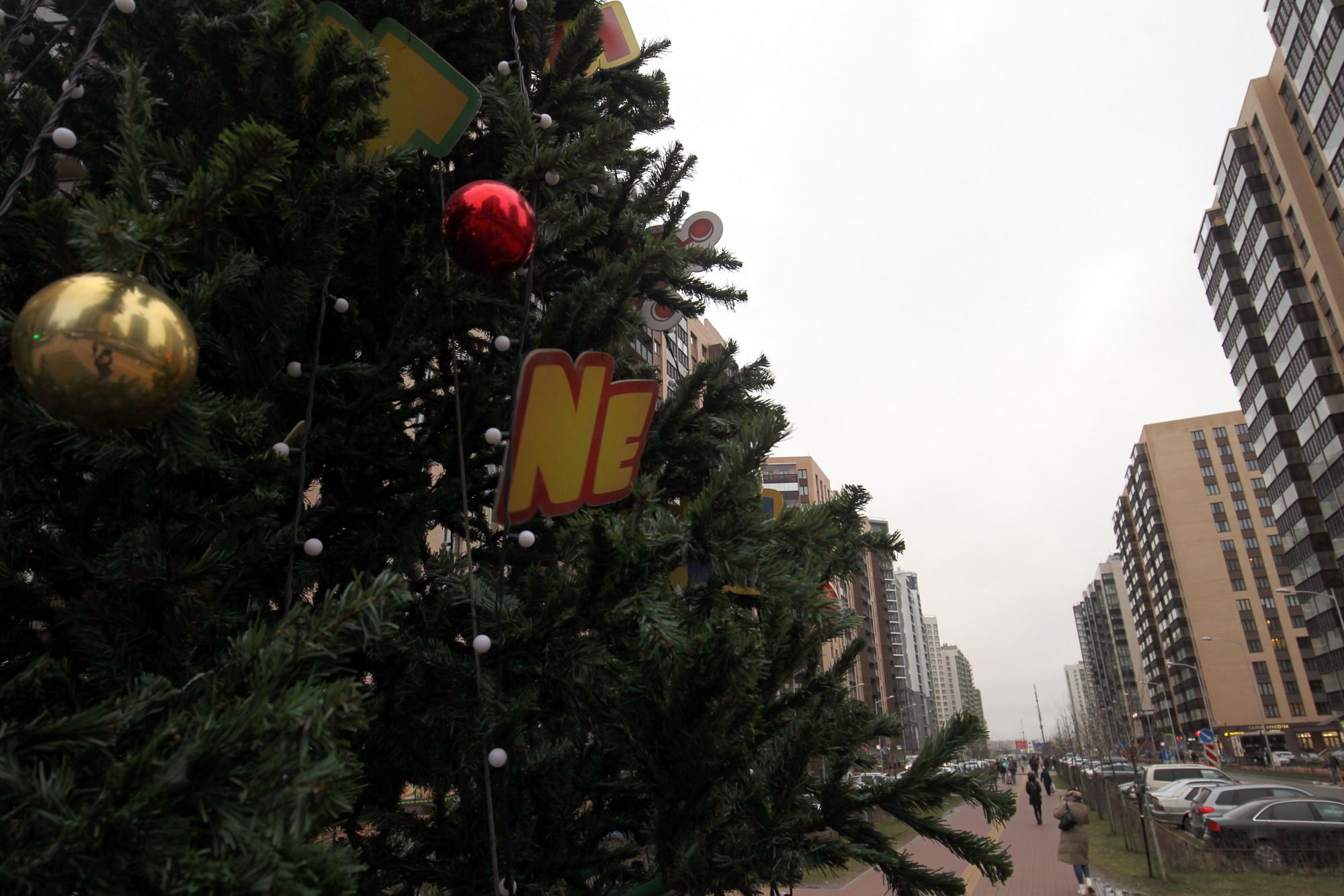 Мурино новостройки жилые дома новогодняя ёлка