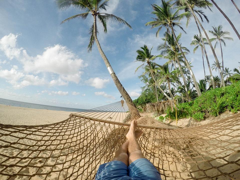 пляж, море, отпуск, пальмы