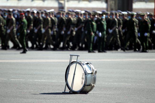 репетиция парада Победы, Дворцовая площадь, военные оркестры, барабан
