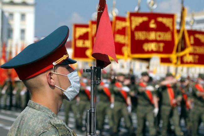 репетиция парада Победы, армия, солдаты, знамёна