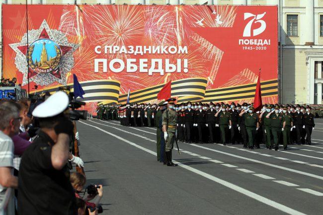 репетиция парада Победы, армия, солдаты, красный флаг