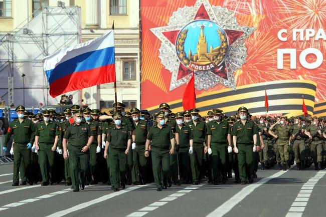 репетиция парада Победы, армия, солдаты, российский флаг