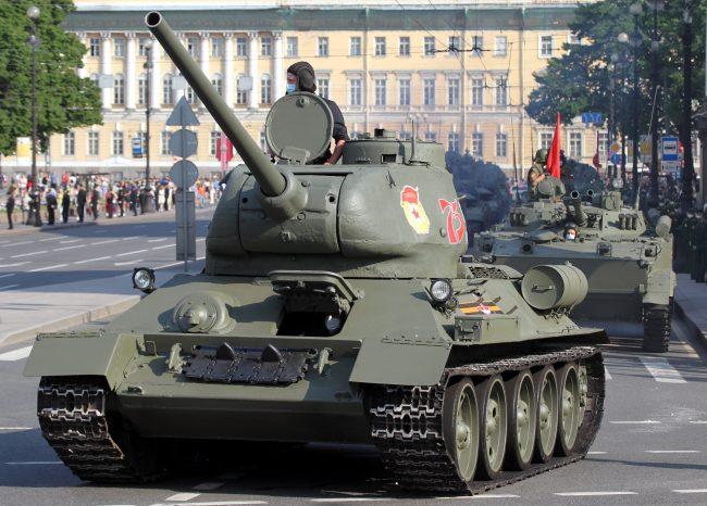 репетиция парада Победы, армия, военная техника, танк Т-34