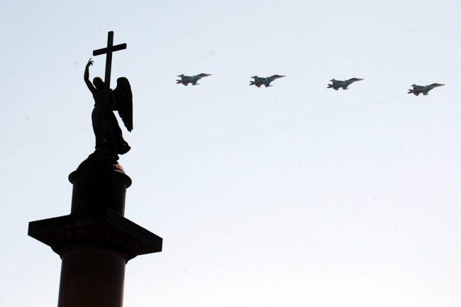 парад победы, Дворцовая площадь, самолёты, авиация, истребители, Су-30