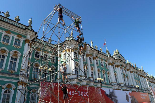 репетиция парада Победы, Дворцовая площадь, леса, сцена, строительство