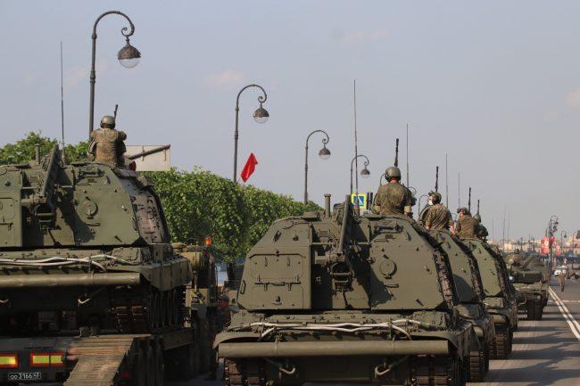 репетиция парада Победы, армия, военная техника, самоходные артиллерийские установки