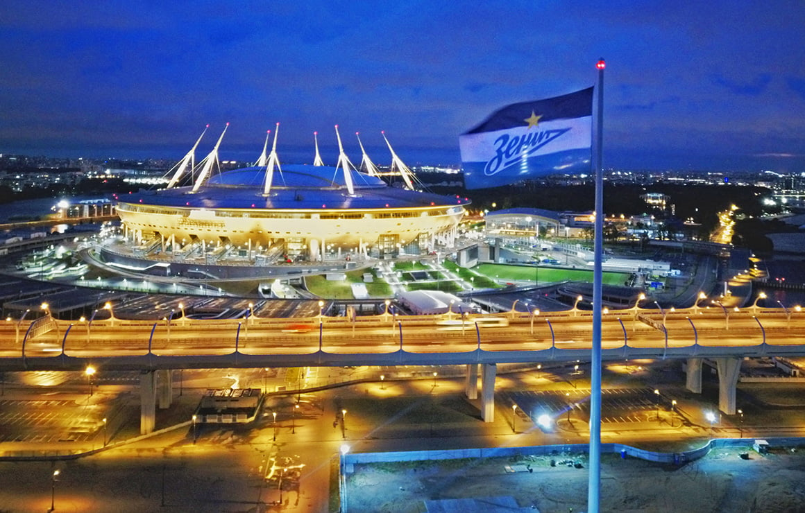 фк зенит, флаг, стадион на крестовском острове, газпром-арена, зенит-арена
