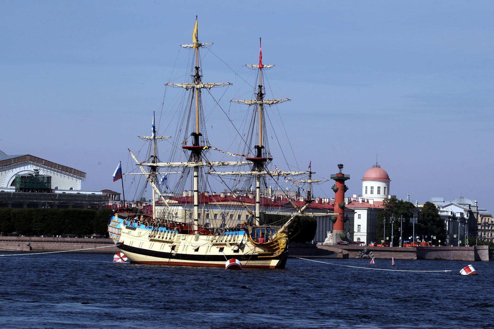 военно-морской парад, день ВМФ, корабли, репетиция, парусник Полтава