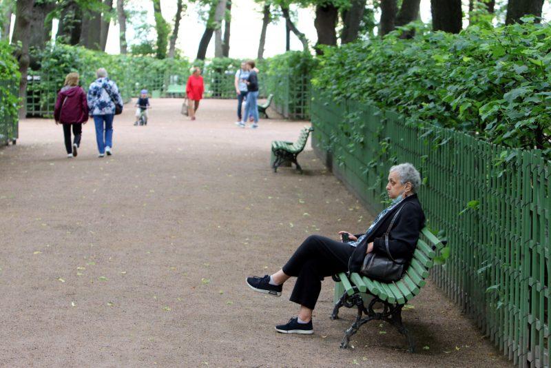 Летний сад, пенсионер, одиночество, пенсия