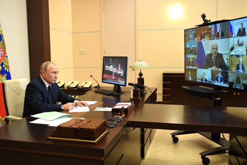 владимир путин, президент, совещание с членами правительства, видеоконференция