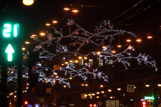 новогодние украшения, оформление, иллюминация, Владимирский проспект