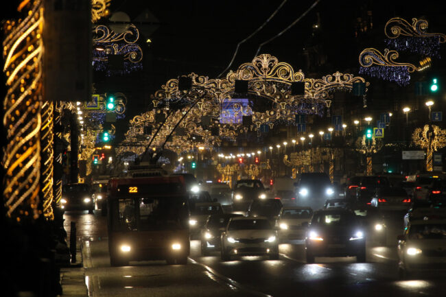 новогодние украшения, оформление, иллюминация, Невский проспект