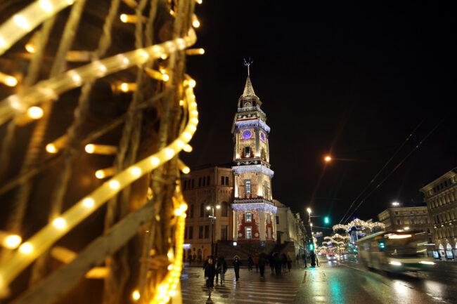 новогодние украшения, оформление, иллюминация, Невский проспект, башня городской думы