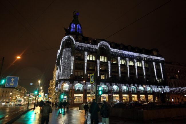 новогодние украшения, оформление, иллюминация, Невский проспект, дом Зингера