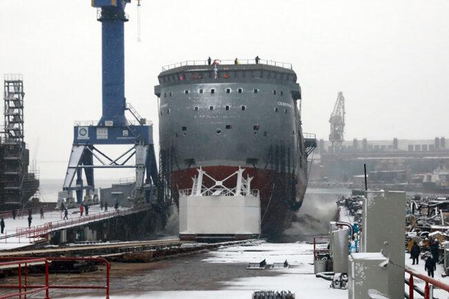 """полярные исследования, судостроение, спуск на воду платформы """"Северный полюс"""""""