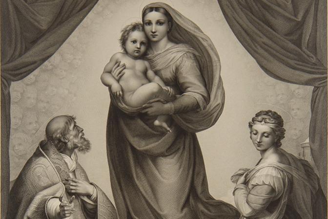 Иоганн Фридрих Вильгельм Мюллер по картине Рафаэля Сикстинская мадонна 1816 Бумага, гравюра резцом Государственный Эрмитаж