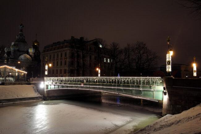 2-й Садовый мост, новогодние украшения, иллюминация