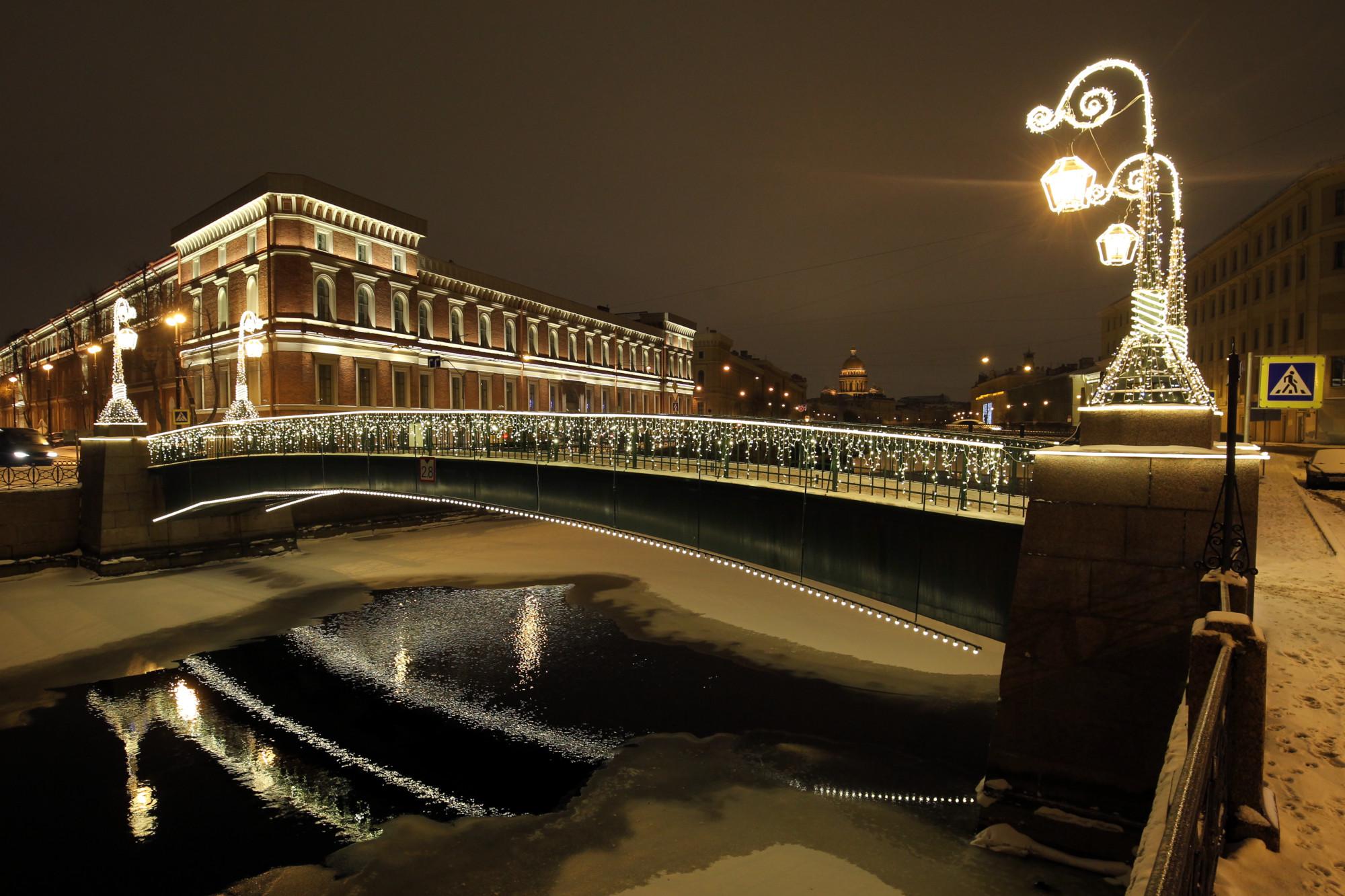 Краснофлотский мост, новогодние украшения, Мойка, новый год
