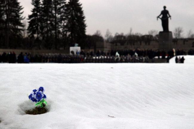 Пискарёвское мемориальное кладбище, день снятия блокады Ленинграда, цветы
