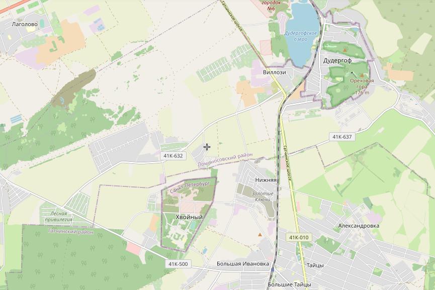 посёлок Хвойный на карте Ленинградской области