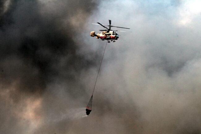 пожар на Невской мануфактуре, пожарный вертолёт, МЧС