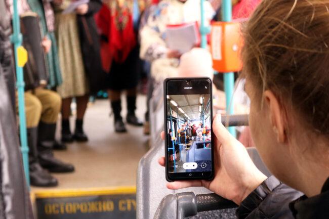 Трамвай Победы, мобильный телефон, смартфон, фотография