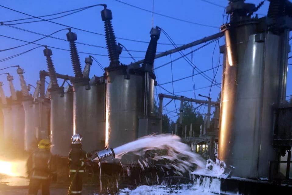 тушение пожара на подстанции Ручьи