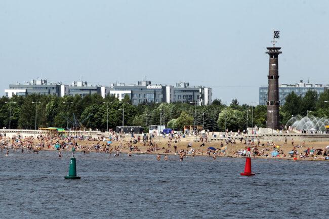 пляж, парк 300-летия Петербурга, купание в море, Финский залив