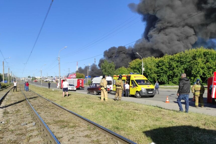 пожар на АГЗС в Новосибирске