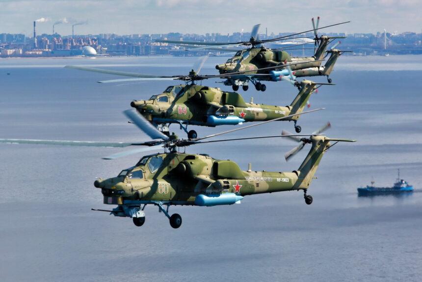 вертолёты, боевая авиация, день ВМФ, репетиция воздушного парада