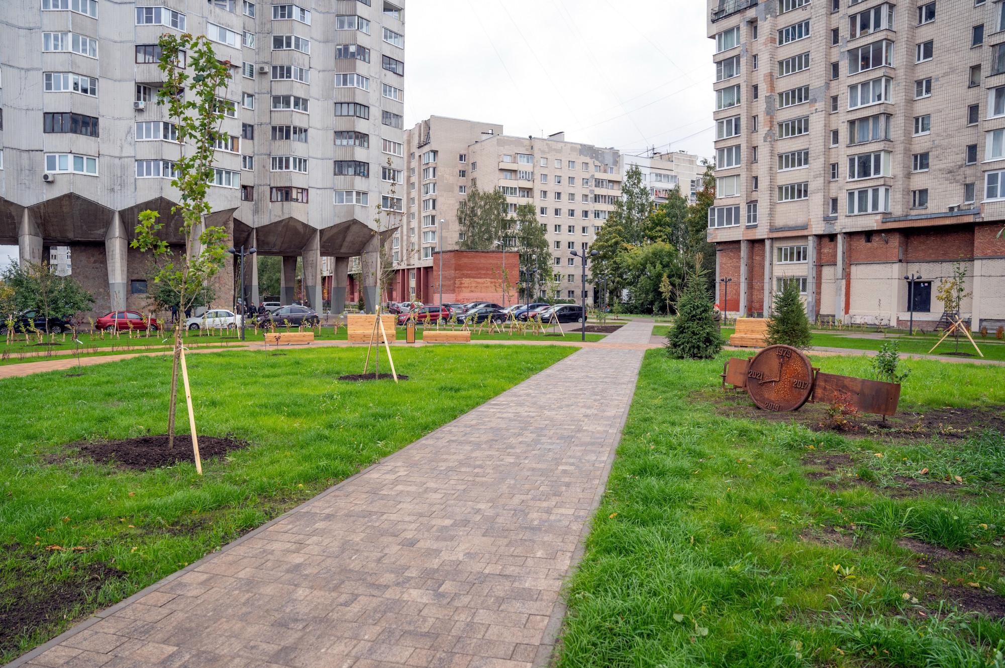 сквер Осенний марафон, зелёная зона, улица Кораблестроителей
