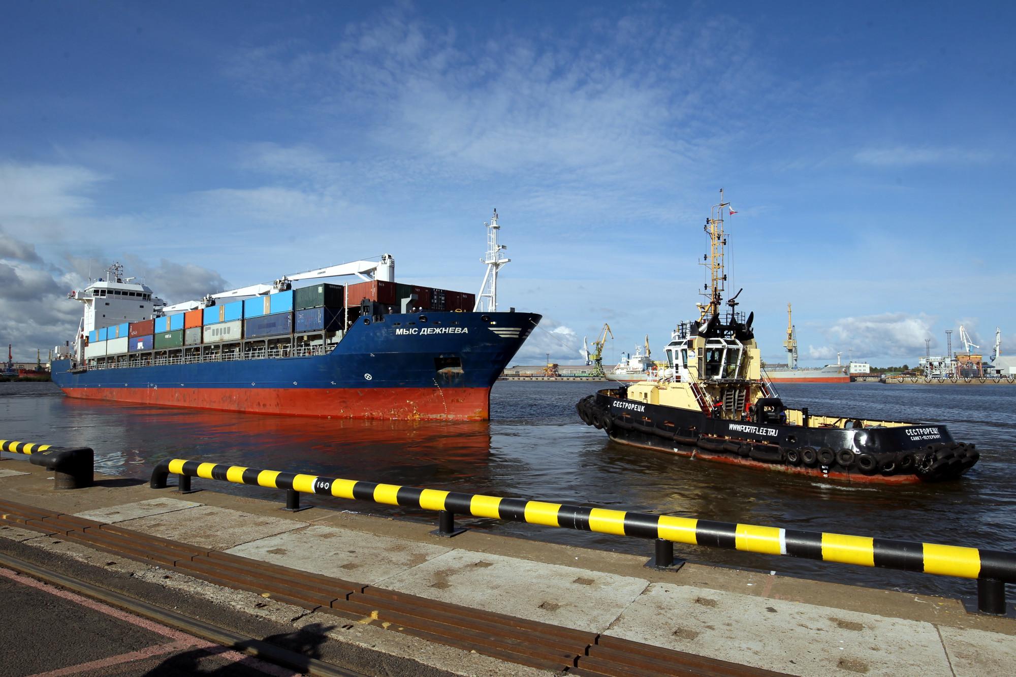 петербургский лесной порт, морской порт, грузоперевозки, суда, судоходство, контейнеровоз Мыс Дежнёва